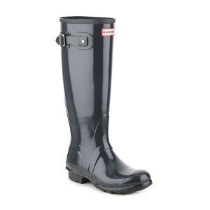 Hunter tall gloss rain boots in dark olive green